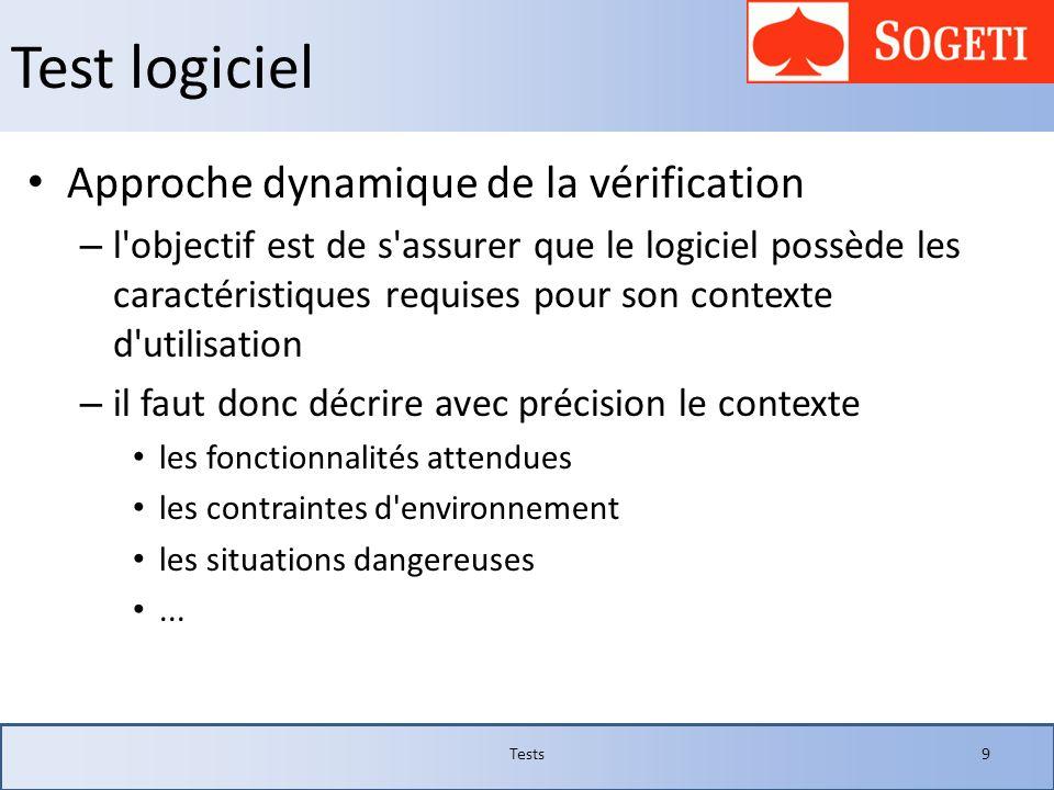 Test logiciel Approche dynamique de la vérification – l'objectif est de s'assurer que le logiciel possède les caractéristiques requises pour son conte