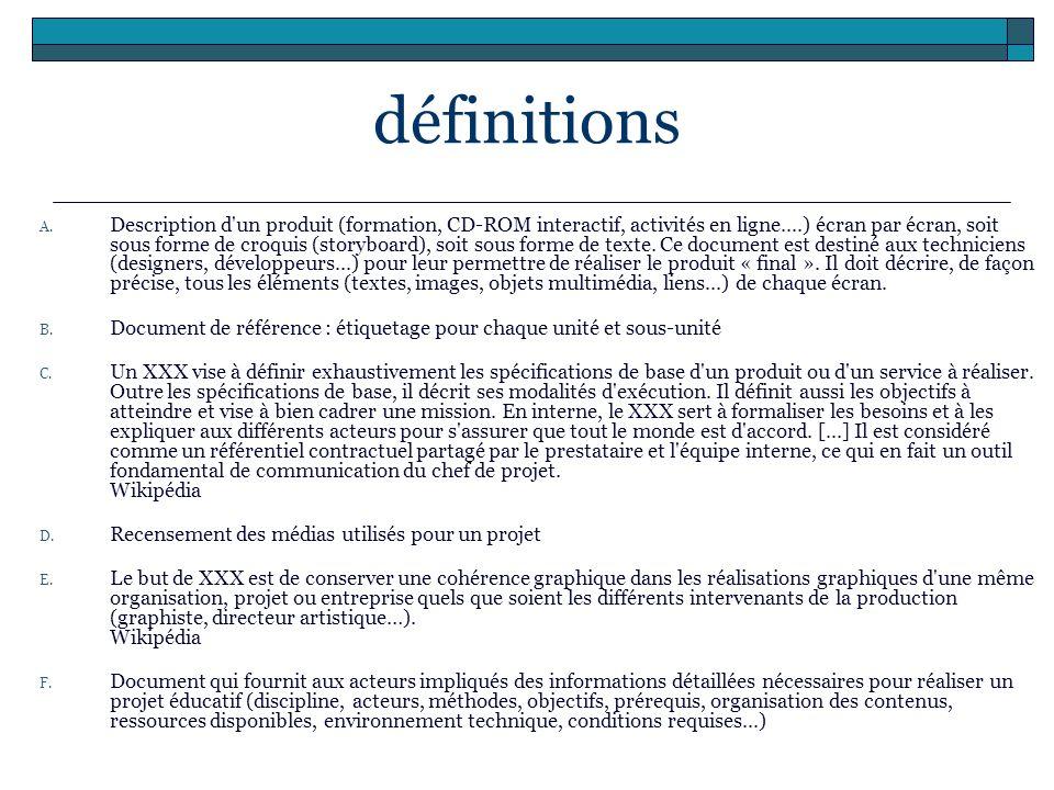 définitions A. Description d'un produit (formation, CD-ROM interactif, activités en ligne....) écran par écran, soit sous forme de croquis (storyboard