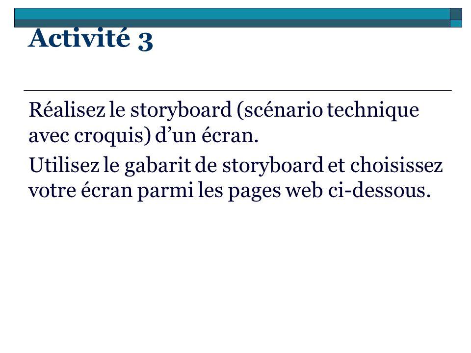 Activité 3 Réalisez le storyboard (scénario technique avec croquis) dun écran. Utilisez le gabarit de storyboard et choisissez votre écran parmi les p