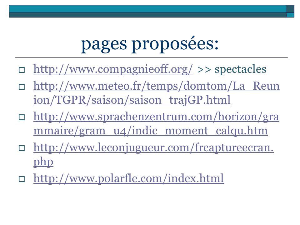 pages proposées: http://www.compagnieoff.org/ >> spectacles http://www.compagnieoff.org/ http://www.meteo.fr/temps/domtom/La_Reun ion/TGPR/saison/sais