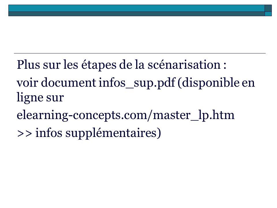 Plus sur les étapes de la scénarisation : voir document infos_sup.pdf (disponible en ligne sur elearning-concepts.com/master_lp.htm >> infos supplémen