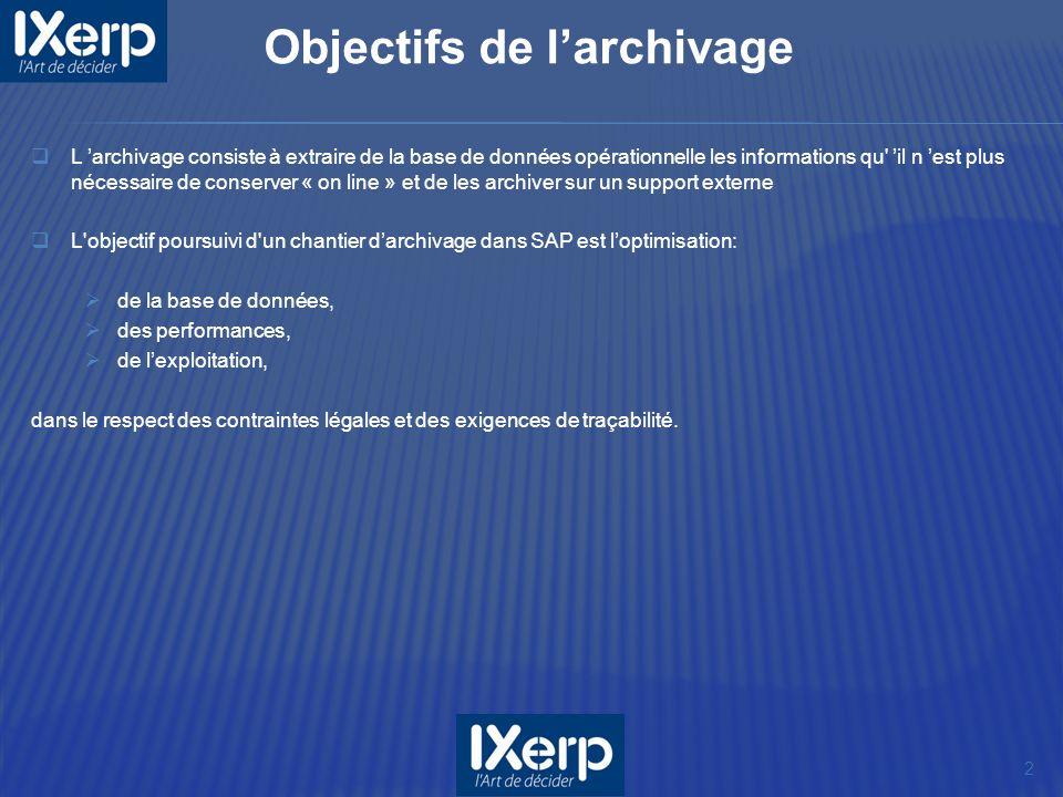 L archivage consiste à extraire de la base de données opérationnelle les informations qu' il n est plus nécessaire de conserver « on line » et de les