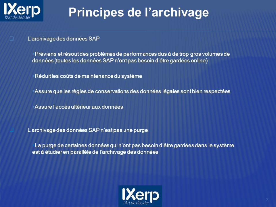 Larchivage des données SAP Préviens et résout des problèmes de performances dus à de trop gros volumes de données (toutes les données SAP nont pas bes