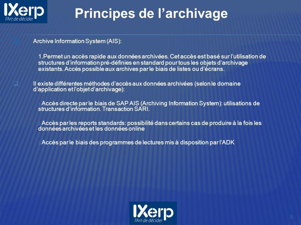 Archive Information System (AIS): 1.Permet un accès rapide aux données archivées. Cet accès est basé sur lutilisation de structures dinformation pré-d