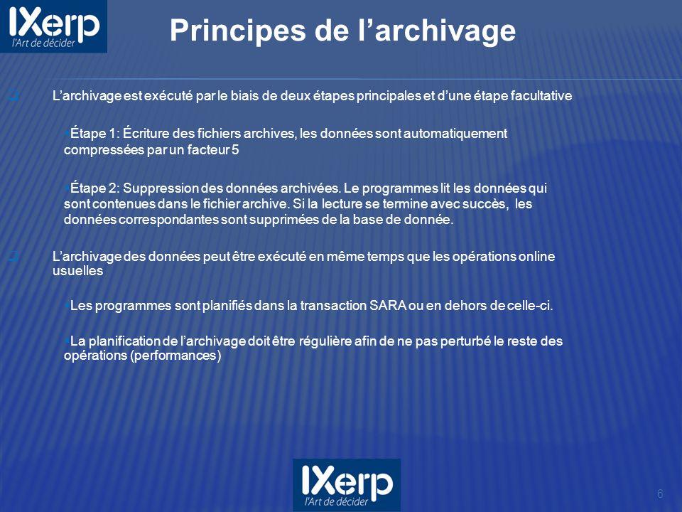 6 Larchivage est exécuté par le biais de deux étapes principales et dune étape facultative Étape 1: Écriture des fichiers archives, les données sont automatiquement compressées par un facteur 5 Étape 2: Suppression des données archivées.