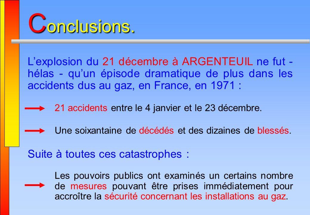 C onclusions. Lexplosion du 21 décembre à ARGENTEUIL ne fut - hélas - quun épisode dramatique de plus dans les accidents dus au gaz, en France, en 197