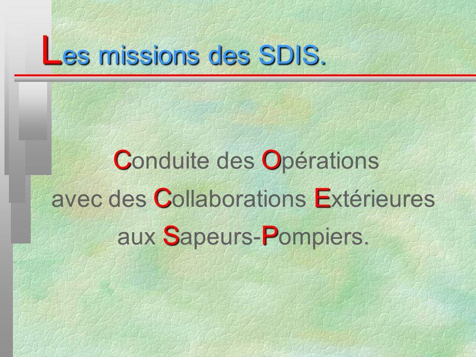 L es missions des SDIS. CO C onduite des O pérations CE avec des C ollaborations E xtérieures SP aux S apeurs- P ompiers.