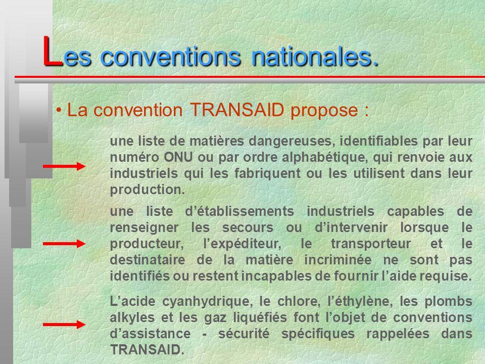 L es conventions nationales. une liste de matières dangereuses, identifiables par leur numéro ONU ou par ordre alphabétique, qui renvoie aux industrie