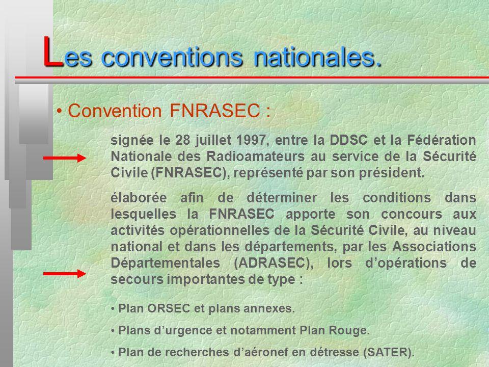 L es conventions nationales. Convention FNRASEC : signée le 28 juillet 1997, entre la DDSC et la Fédération Nationale des Radioamateurs au service de