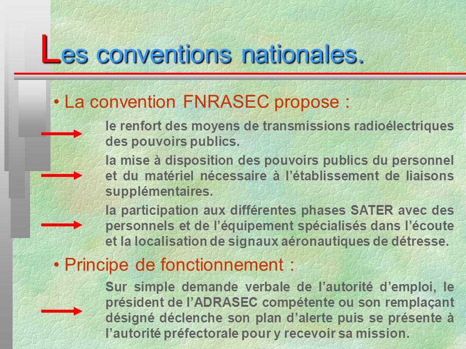 L es conventions nationales. La convention FNRASEC propose : le renfort des moyens de transmissions radioélectriques des pouvoirs publics. la mise à d