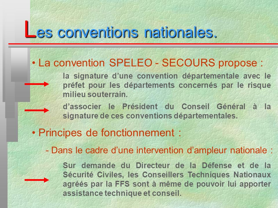 L es conventions nationales. La convention SPELEO - SECOURS propose : la signature dune convention départementale avec le préfet pour les départements