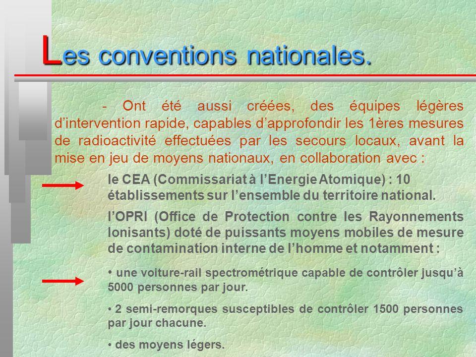 L es conventions nationales. - Ont été aussi créées, des équipes légères dintervention rapide, capables dapprofondir les 1ères mesures de radioactivit