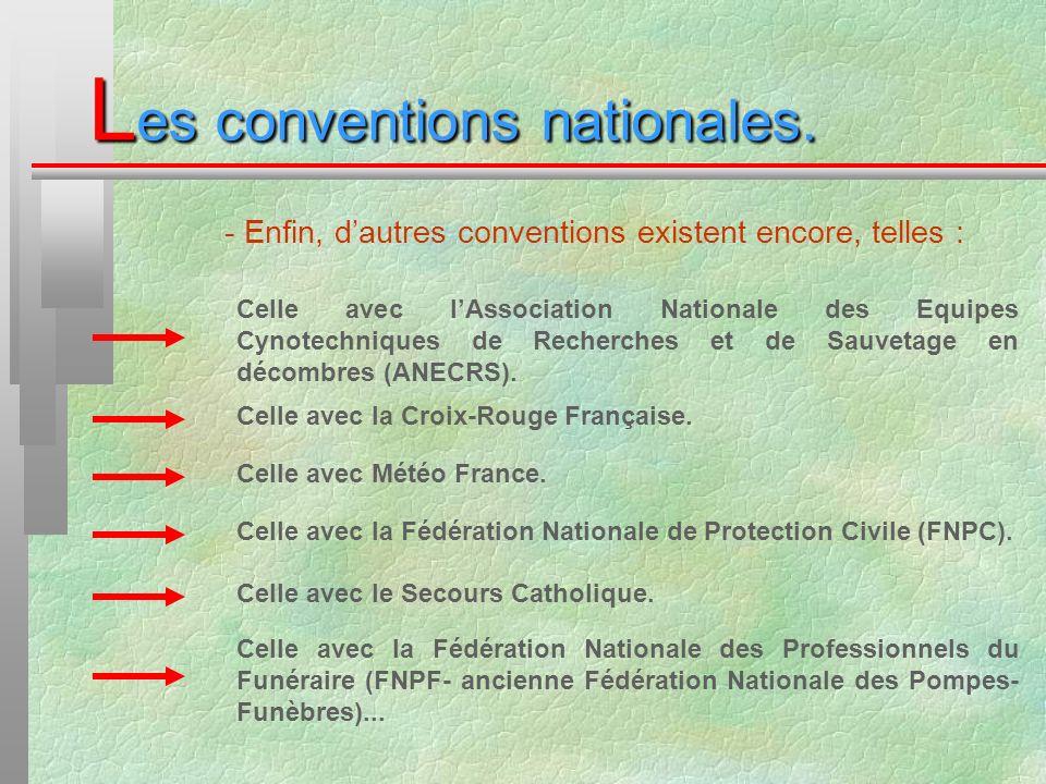 - Enfin, dautres conventions existent encore, telles : L es conventions nationales. Celle avec lAssociation Nationale des Equipes Cynotechniques de Re