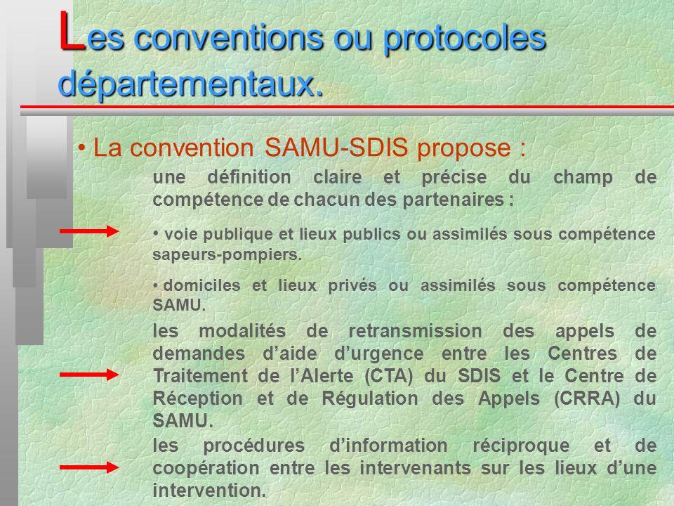 L es conventions ou protocoles départementaux. La convention SAMU-SDIS propose : une définition claire et précise du champ de compétence de chacun des