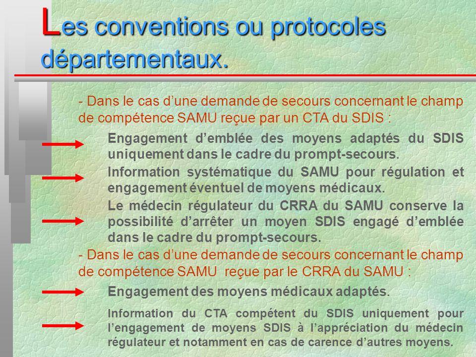 L es conventions ou protocoles départementaux. - Dans le cas dune demande de secours concernant le champ de compétence SAMU reçue par un CTA du SDIS :