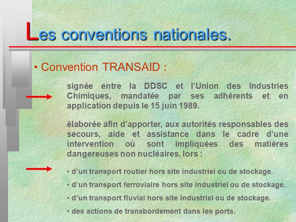 L es conventions nationales. Convention TRANSAID : signée entre la DDSC et lUnion des Industries Chimiques, mandatée par ses adhérents et en applicati