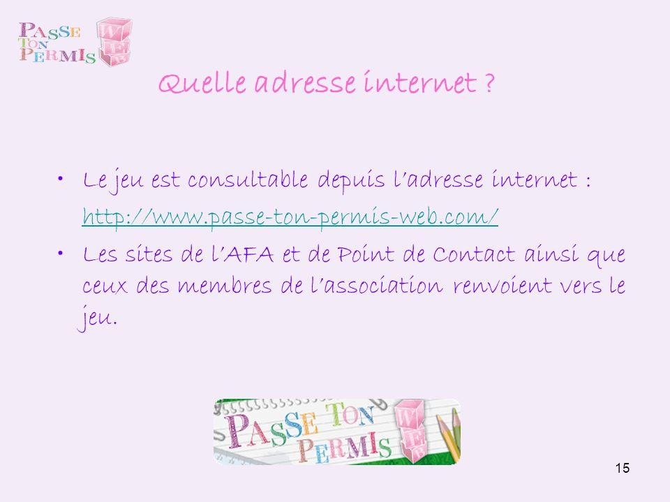 15 Le jeu est consultable depuis ladresse internet : http://www.passe-ton-permis-web.com/ Les sites de lAFA et de Point de Contact ainsi que ceux des