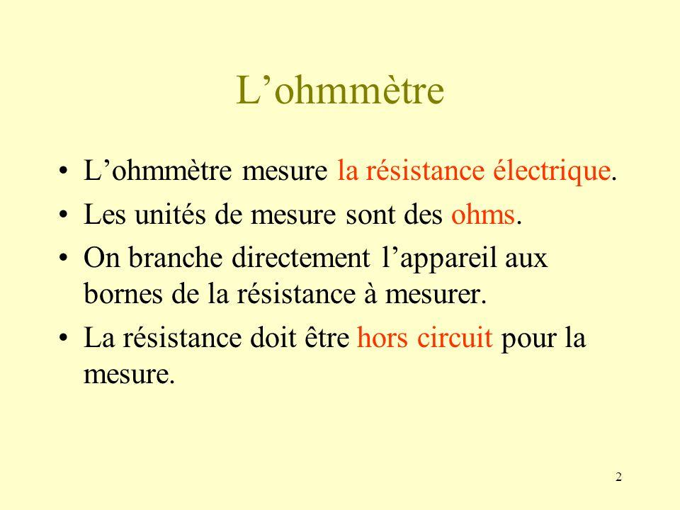 2 Lohmmètre Lohmmètre mesure la résistance électrique. Les unités de mesure sont des ohms. On branche directement lappareil aux bornes de la résistanc