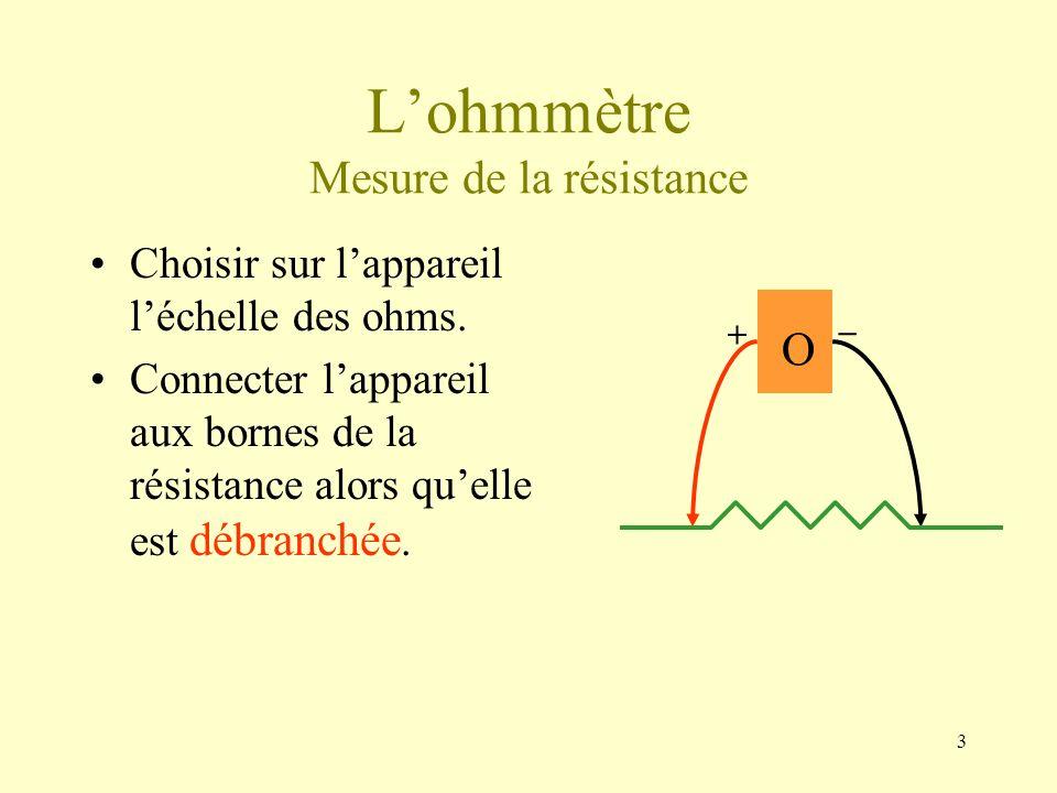 3 Lohmmètre Mesure de la résistance Choisir sur lappareil léchelle des ohms. Connecter lappareil aux bornes de la résistance alors quelle est débranch