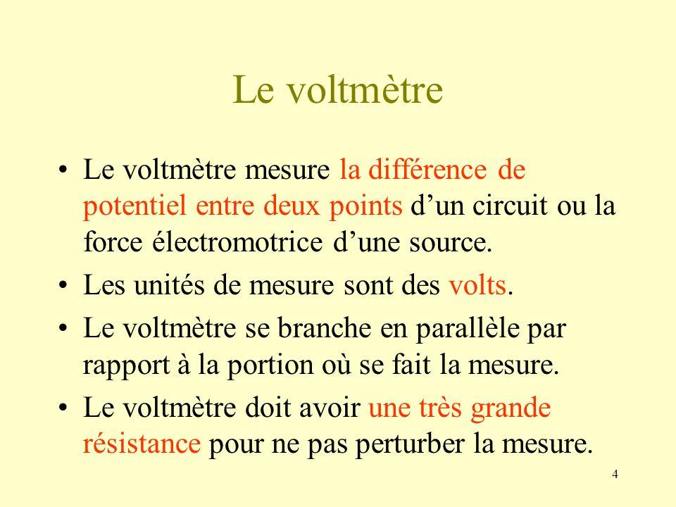 4 Le voltmètre Le voltmètre mesure la différence de potentiel entre deux points dun circuit ou la force électromotrice dune source. Les unités de mesu