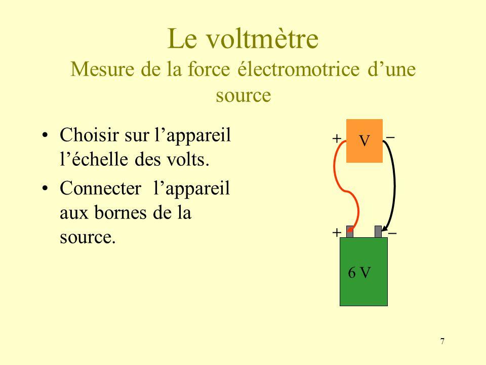 7 Le voltmètre Mesure de la force électromotrice dune source Choisir sur lappareil léchelle des volts. Connecter lappareil aux bornes de la source. 6