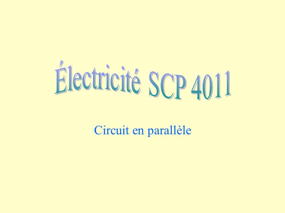 Circuit en parallèle R 2 = 10 ohms R 1 = 5 ohms 6 volts I Le circuit est un circuit en parallèle car il existe deux façons pour les charges de se rendre de la borne positive à la borne négative.