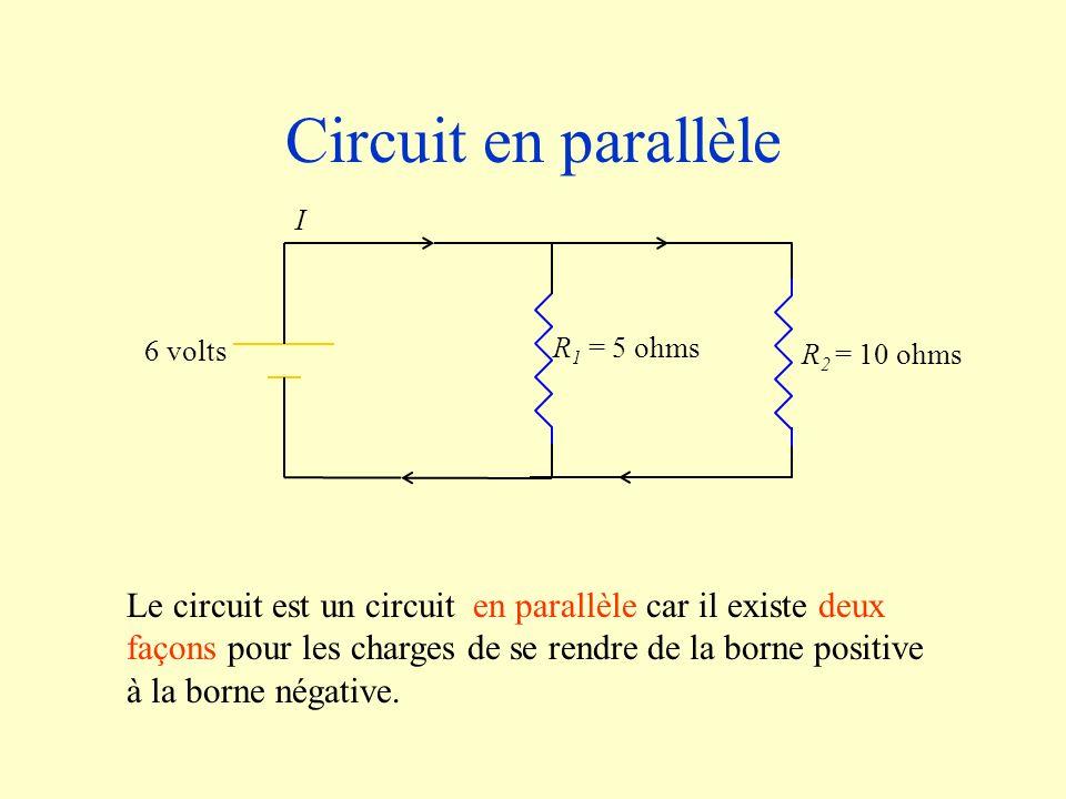Circuit en parallèle R 2 = 10 ohms R 1 = 5 ohms 6 volts I Le circuit est un circuit en parallèle car il existe deux façons pour les charges de se rend