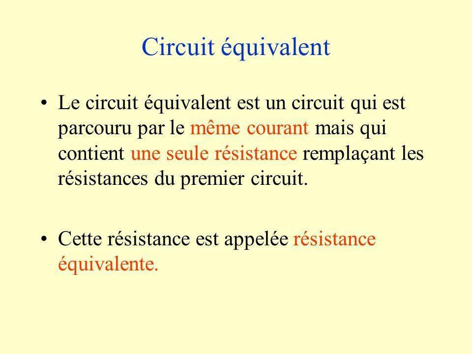 Circuit équivalent Le circuit équivalent est un circuit qui est parcouru par le même courant mais qui contient une seule résistance remplaçant les rés