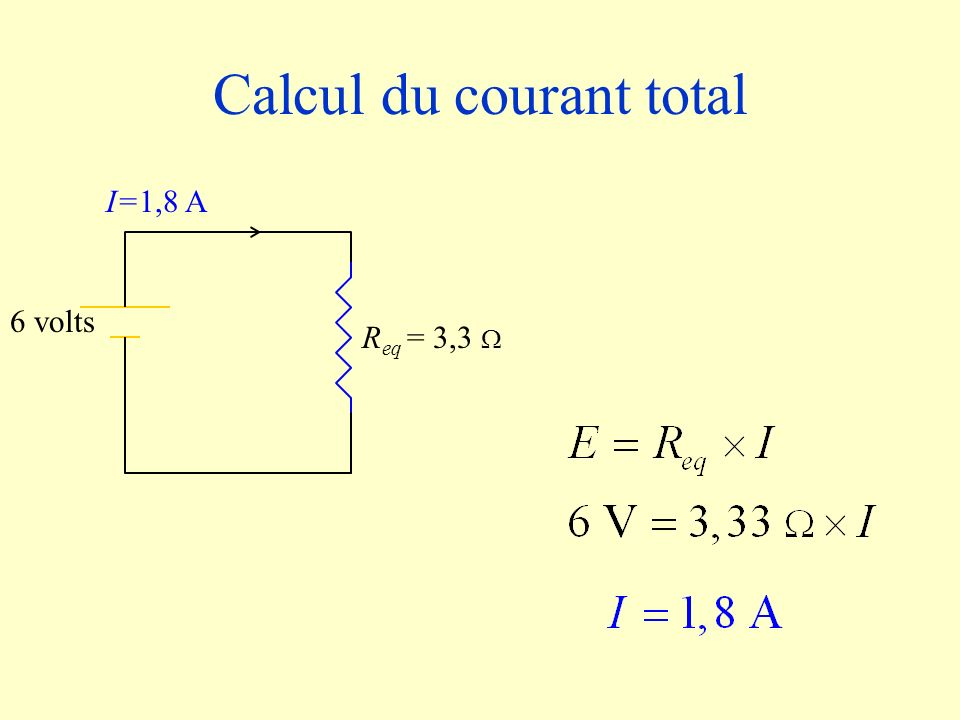 Calcul du courant total R eq = 3,3 6 volts I=1,8 A