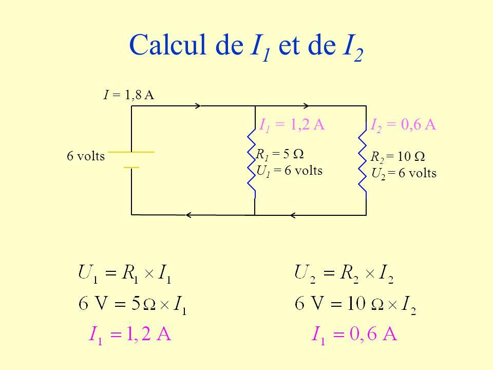 R 2 = 10 U 2 = 6 volts R 1 = 5 U 1 = 6 volts 6 volts I = 1,8 A I 1 = 1,2 AI 2 = 0,6 A Calcul de I 1 et de I 2