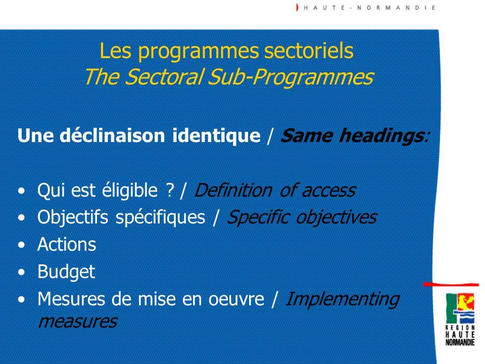 Les programmes sectoriels The Sectoral Sub-Programmes Une déclinaison identique / Same headings: Qui est éligible ? / Definition of access Objectifs s