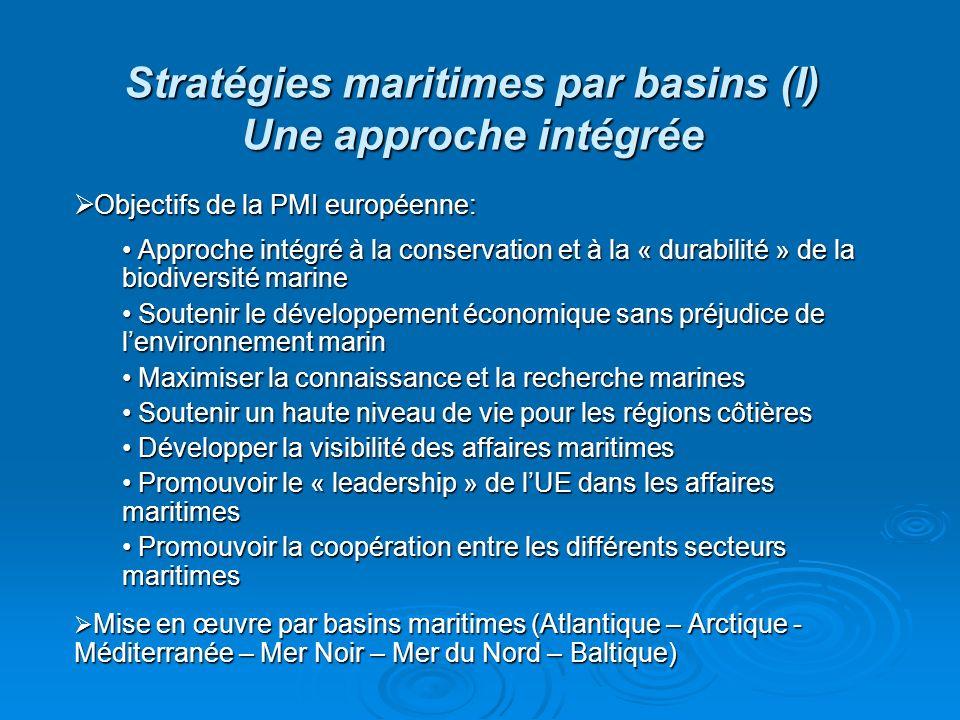Stratégies maritimes par basins (I) Une approche intégrée Objectifs de la PMI européenne: Objectifs de la PMI européenne: Approche intégré à la conser