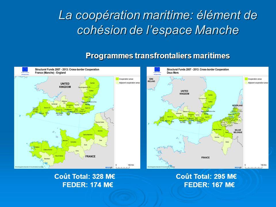 La coopération maritime: élément de cohésion de lespace Manche Programmes transfrontaliers maritimes Coût Total: 328 M FEDER: 174 M Coût Total: 295 M