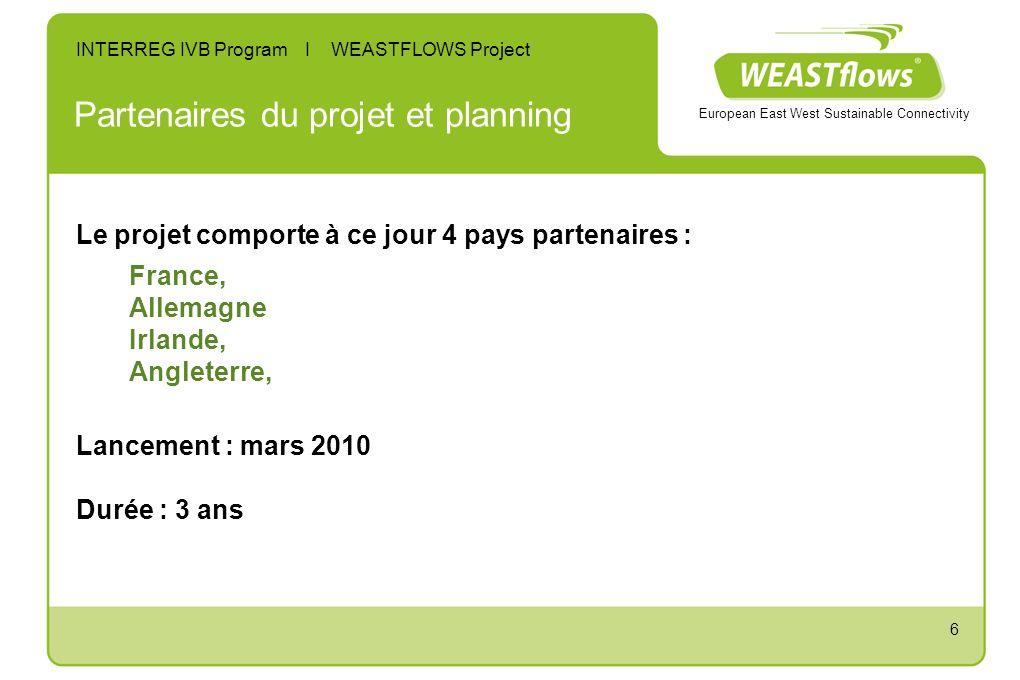 6 Partenaires du projet et planning Le projet comporte à ce jour 4 pays partenaires : France, Allemagne Irlande, Angleterre, Lancement : mars 2010 Durée : 3 ans European East West Sustainable Connectivity INTERREG IVB Program I WEASTFLOWS Project