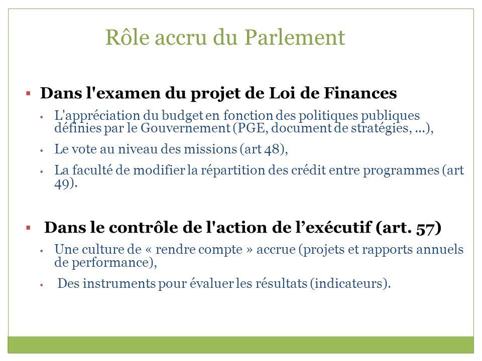 Rôle accru du Parlement Dans l'examen du projet de Loi de Finances L'appréciation du budget en fonction des politiques publiques définies par le Gouve