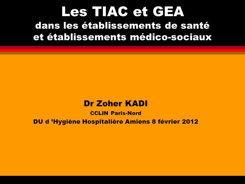 Les TIAC et GEA dans les établissements de santé et établissements médico-sociaux Dr Zoher KADI CCLIN Paris-Nord DU d Hygiène Hospitalière Amiens 8 fé