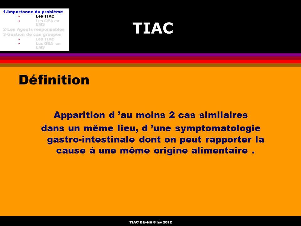 TIAC DU-HH 8 fév 2012 TIAC Définition Apparition d au moins 2 cas similaires dans un même lieu, d une symptomatologie gastro-intestinale dont on peut