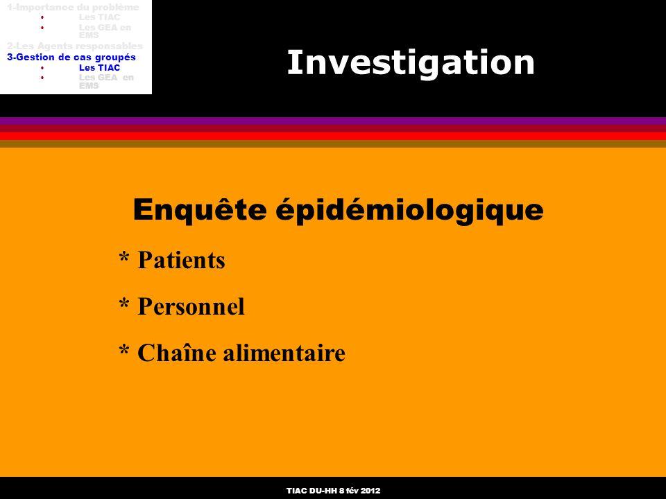 TIAC DU-HH 8 fév 2012 Enquête épidémiologique * Patients * Personnel * Chaîne alimentaire Investigation 1-Importance du problème Les TIAC Les GEA en E
