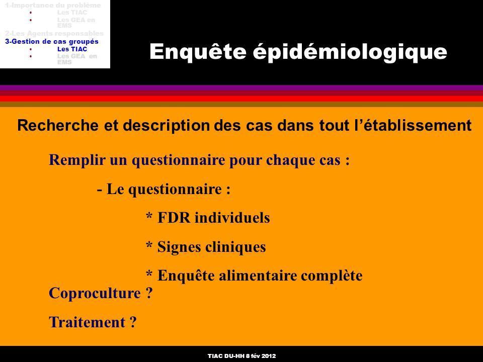 TIAC DU-HH 8 fév 2012 Enquête épidémiologique Recherche et description des cas dans tout létablissement Remplir un questionnaire pour chaque cas : - L