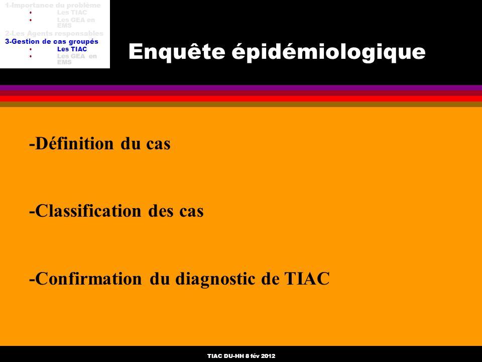 TIAC DU-HH 8 fév 2012 -Définition du cas -Classification des cas -Confirmation du diagnostic de TIAC Enquête épidémiologique 1-Importance du problème