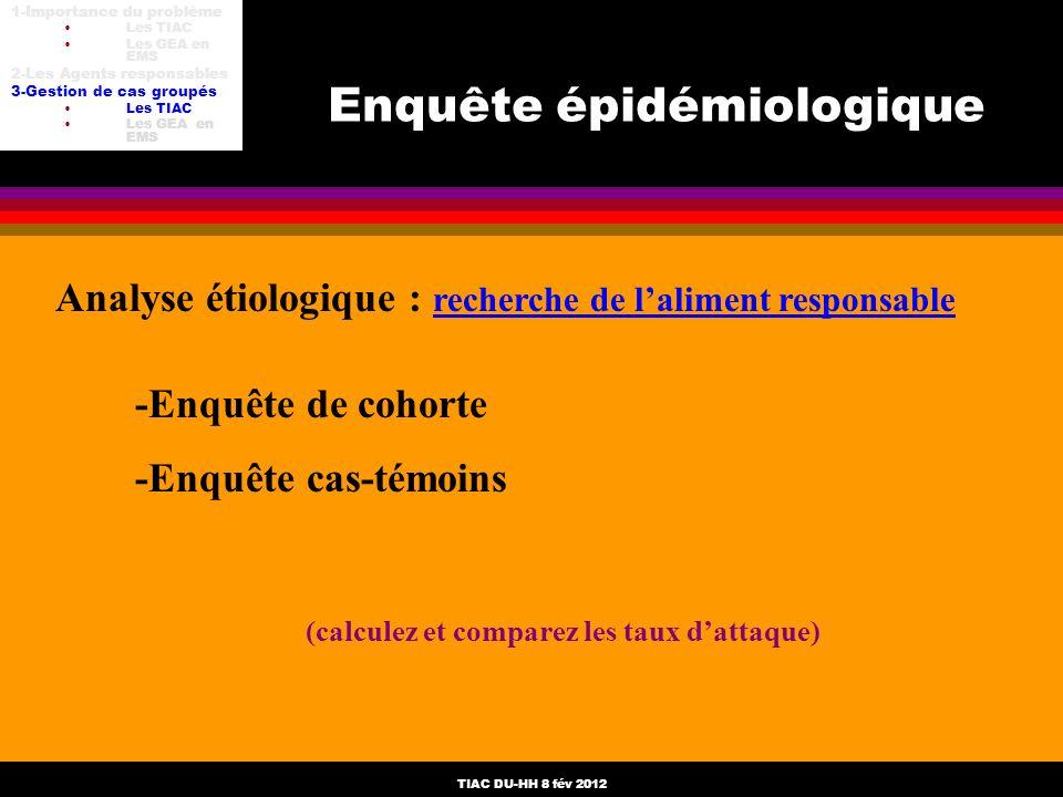 TIAC DU-HH 8 fév 2012 Enquête épidémiologique Analyse étiologique : recherche de laliment responsable -Enquête de cohorte -Enquête cas-témoins (calcul