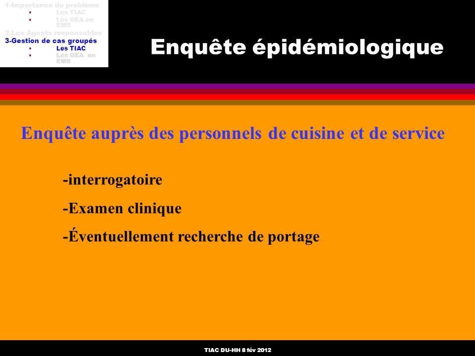 TIAC DU-HH 8 fév 2012 Enquête épidémiologique Enquête auprès des personnels de cuisine et de service -interrogatoire -Examen clinique -Éventuellement