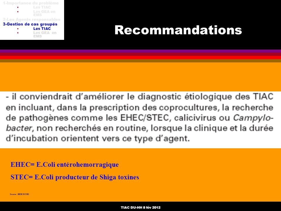 TIAC DU-HH 8 fév 2012 Recommandations Source : BEH 50/2002 EHEC= E.Coli entérohemorragique STEC= E.Coli producteur de Shiga toxines 1-Importance du pr