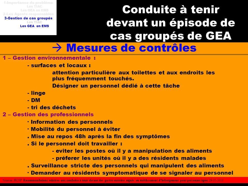 Conduite à tenir devant un épisode de cas groupés de GEA Mesures de contrôles 1 – Gestion environnementale : - surfaces et locaux : attention particul