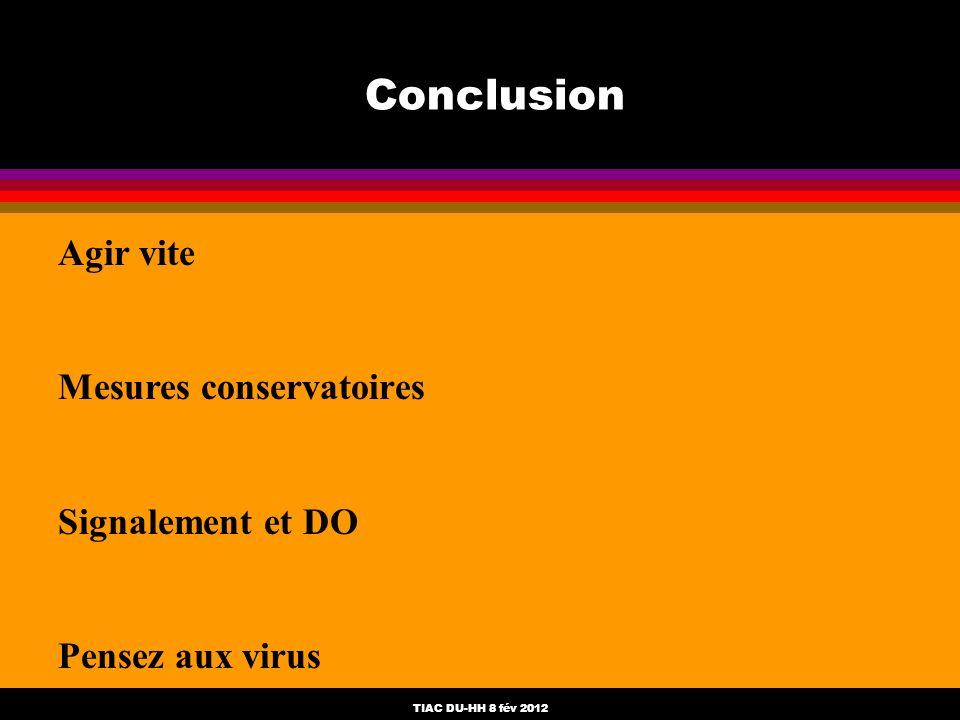 TIAC DU-HH 8 fév 2012 Conclusion Agir vite Mesures conservatoires Signalement et DO Pensez aux virus