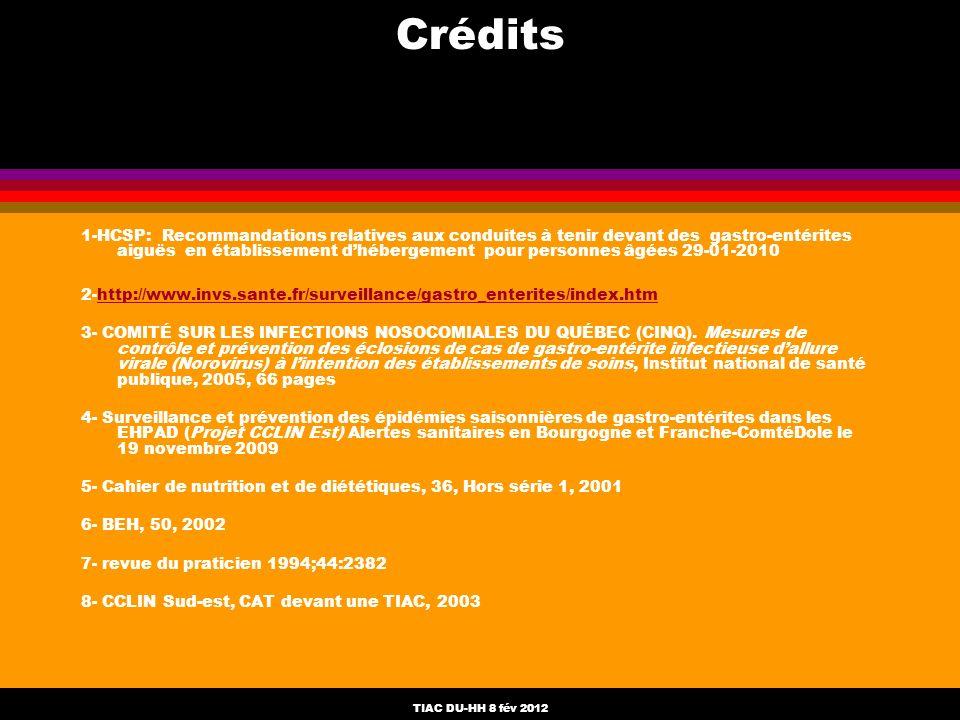 TIAC DU-HH 8 fév 2012 Crédits 1-HCSP: Recommandations relatives aux conduites à tenir devant des gastro-entérites aiguës en établissement dhébergement