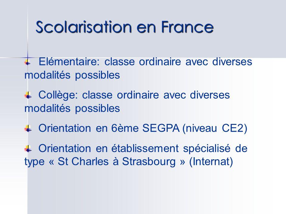 Scolarisation en France Elémentaire: classe ordinaire avec diverses modalités possibles Collège: classe ordinaire avec diverses modalités possibles Or