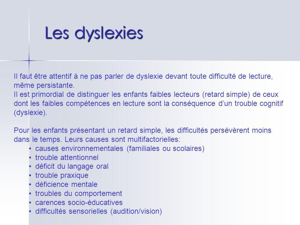 Les dyslexies Il faut être attentif à ne pas parler de dyslexie devant toute difficulté de lecture, même persistante. Il est primordial de distinguer