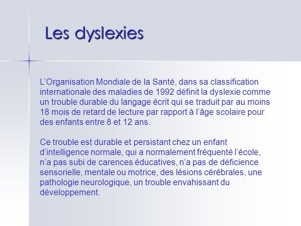 Les dyslexies LOrganisation Mondiale de la Santé, dans sa classification internationale des maladies de 1992 définit la dyslexie comme un trouble dura