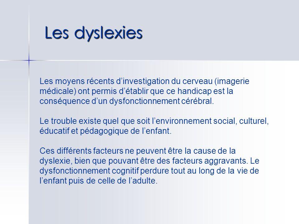 Les dyslexies Les moyens récents dinvestigation du cerveau (imagerie médicale) ont permis détablir que ce handicap est la conséquence dun dysfonctionn